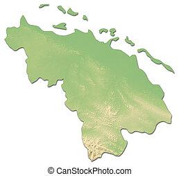 Relief map - Villa Clara (Cuba) - 3D-Rendering
