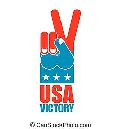 Finger victory USA. America win hand. Symbol of USA Patriot. American sports sign. Expression of emotions. Pattern of flag of United States