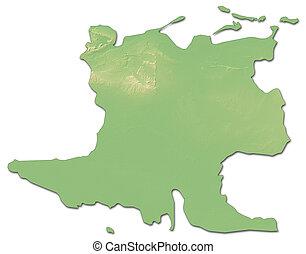 Relief map - Matanzas (Cuba) - 3D-Rendering - Relief map of...
