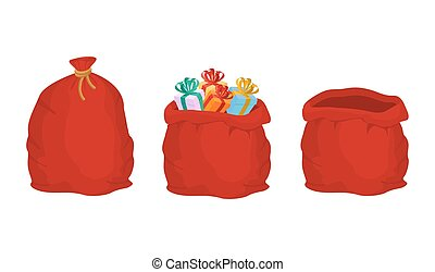 Red bag Santa Claus set. Large sack holiday for gifts. Big...