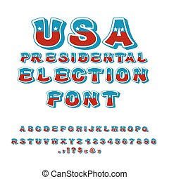 USA presidental Election font. Political debate in America...
