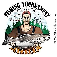 Fishing Vector Logo. Fisherman or Fish icon. - Fisherman...
