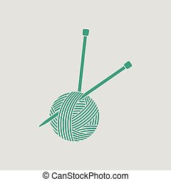 Yarn ball with knitting needles icon. Gray background with...