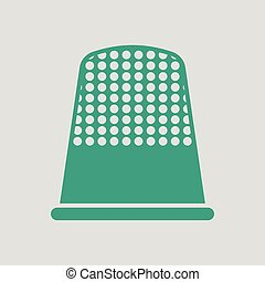 Tailor thimble icon. Gray background with green. Vector...