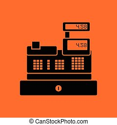 Cashier icon. Orange background with black. Vector...