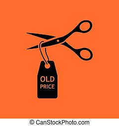 Scissors cut old price tag icon. Orange background with...