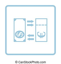 Currency exchange icon. Blue frame design. Vector...