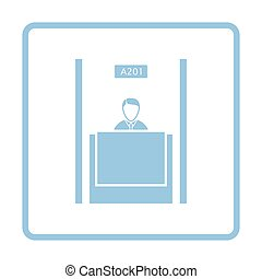 Bank clerk icon. Blue frame design. Vector illustration.