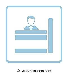 Bank clerk icon. Blue frame design. Vector illustration.