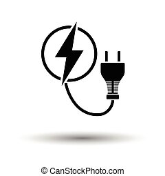 Electric plug icon. White background with shadow design....