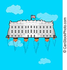 White house Flying with rocket turbo. USA President Residence in space. American National Palace flies. Government building connected to future. Fantastic main Landmarks Washington dc.