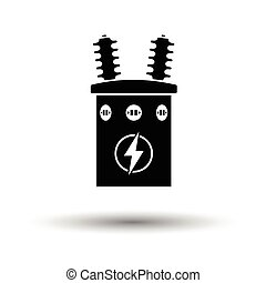 Electric transformer icon. White background with shadow...