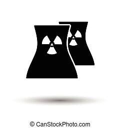 Nuclear station icon. White background with shadow design....
