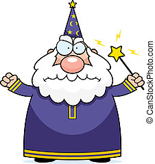 Angry Wizard - A cartoon wizard with an angry expression.