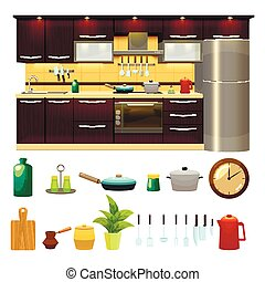 Kitchen Interior Icon Set - Colorful cartoon style kitchen...