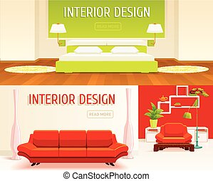 Interior Design Banners Set - Two horizontal banners set...