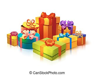 Gift Boxes Pile Composition - Composition with colorful...