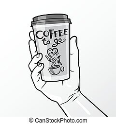 Coffee To Go Cup In Hand Composition - Gray color coffee to...