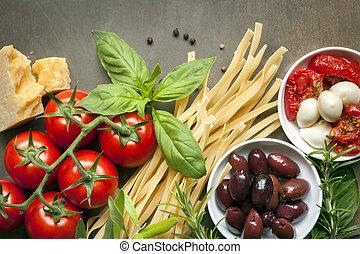 cibo, fondo, italiano