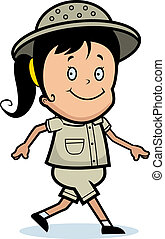 Explorer Walking - A happy cartoon explorer girl walking and...