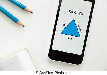 Top view of a mobile on a desk, success diagram