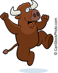 Buffalo Jumping - A happy cartoon buffalo jumping and...