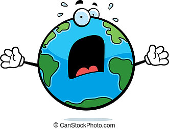 Scared Earth - A cartoon planet Earth with a scared...