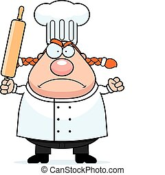 Angry Chef - A cartoon chef with an angry expression