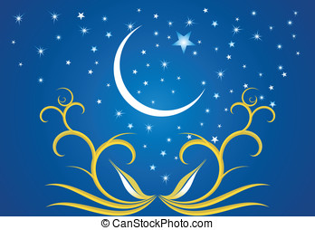 Stars, crescents and mosques. - Ramadan evenings. Stars,...