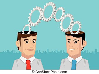 Two Heads are Better than One Metaphor Vector Illustration -...
