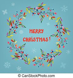 Merry Christmas card with floral wreath and snow - vector...