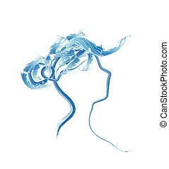 Woman head sketch for spa saloon or cosmetics shop - vector...