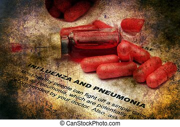Influenza and pneumonia grunge concept