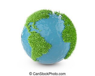 Green world concept with continents covered grass.
