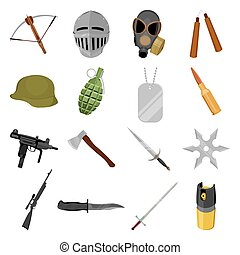 Weapon set icons in cartoon style. Big collection weapon...