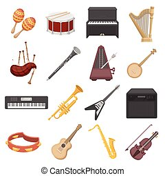 Musical instruments set icons in cartoon style. Big...