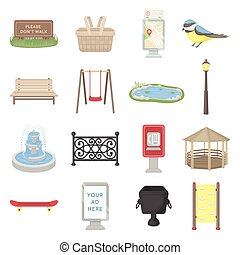 Park set icons in cartoon style. Big collection park vector...