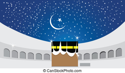 kaaba - Center of Muslim pilgrimage. Kaaba and the holy city...