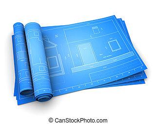 house blueprints - 3d illustration of rolled blueprints of...