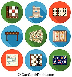 Board games set icons in flat style. Big collection board...