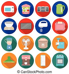Household appliances set icons in flat style. Big collection household appliances vector symbol stock illustration