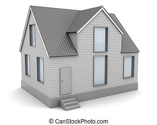 3d house - 3d illustration of gray colored house over white...