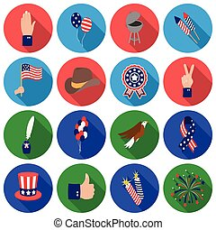 Patriot Day set icons in flat style. Big collection Patriot Day vector symbol stock illustration