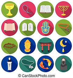 Religion set icons in flat style. Big collection religion vector symbol stock illustration
