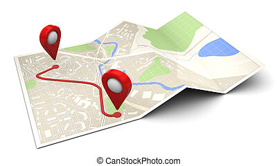 route - 3d illustration of city map with route, over white...