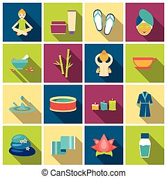 Spa set icons in flat style. Big collection spa vector...