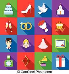 Weeding set icons in flat style. Big collection wedding vector symbol stock illustration