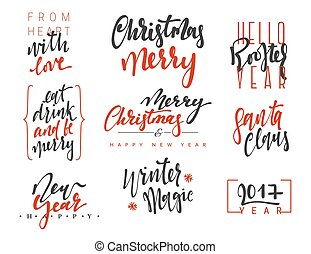 Merry Christmas Lettering Design Set. Calligraphy...
