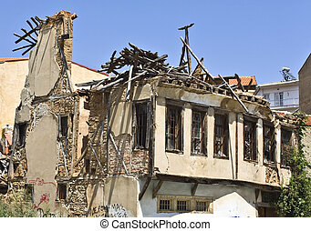 House after an earthquake - Remains of a house after an...