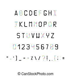 Printed font. Fonts 80s, 90s with a hologram. Simple Letters...